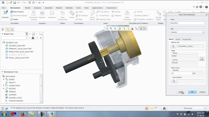 Create Gear Mechanism and Servo Motor in PTC Creo Parametric
