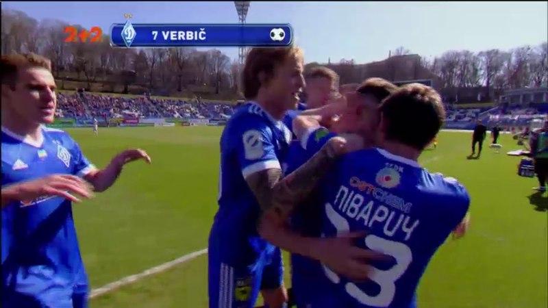 Динамо - Заря - 2:0. Гол: Вербич (51')