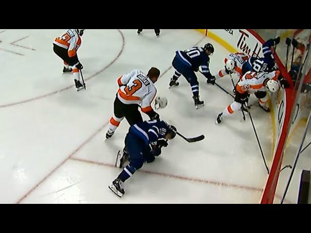 Gudas tossed after cracking down on Perreault's head with stick