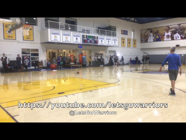 Warriors views from practice Steph Curry's arrival, reverse dunk and kickball walk-away shot