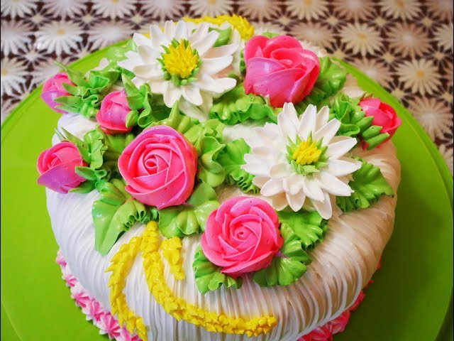 МК по хризантеме розе и бутону розы Украшение торта кремом Cake decoration