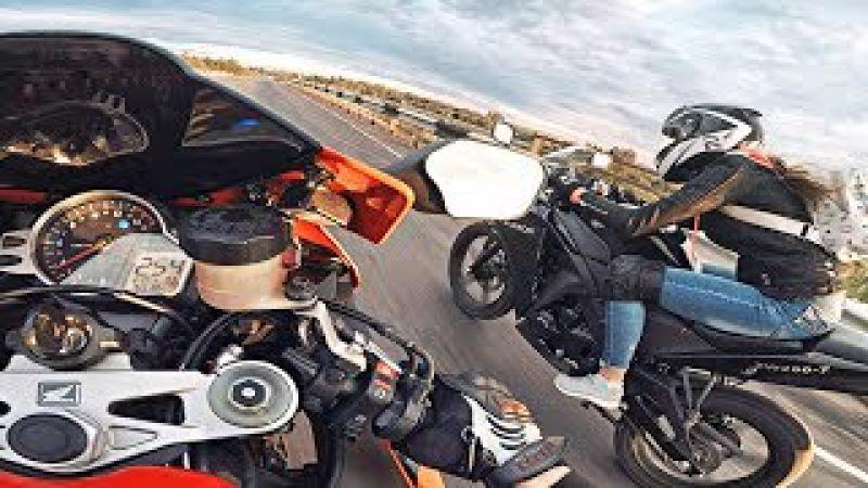 Меня обогнала ДЕВЧОНКА - Девушка первый раз выехала в город на мотоцикле