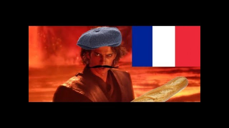 Anakin is defeated by Obi Wan by high ground but it's voiced by French Google Translate