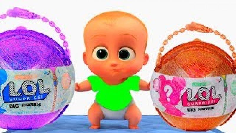 КРОШКА МАЛЫШ как БОСС молокосос 10 играет с куклами ЛОЛ Surprise мультик для детей ГАМИКС