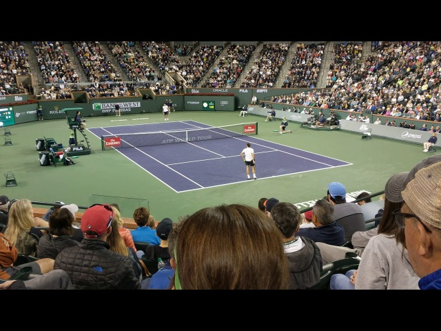 Roger Federer d. Hyeon Chung Final game - Indian Wells 2018 Courtisde