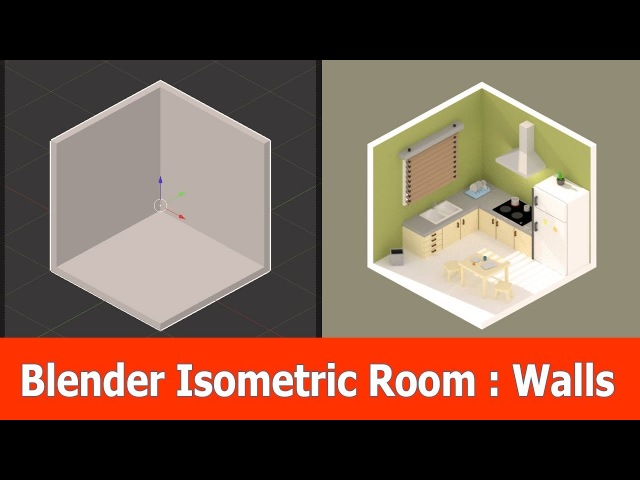 Blender Low Poly Isometric Room : Walls