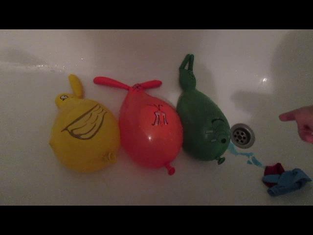 Лопаем шарики с водой.Игры для детей.Игры в ванной.Учим цвета.