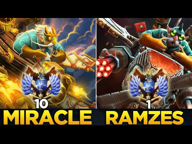 Who is the better Gyrocopter? - Miracle- [Rank 10] vs RAMZES666 [Rank 1] - Dota 2