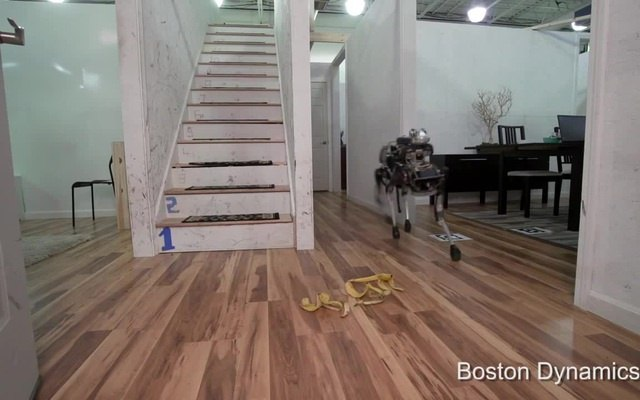 Ha-ha! Robot slipped on a banana peel!