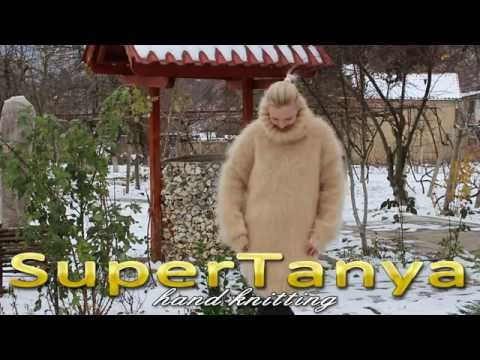 11.12.2012 Hand knitted champagne fuzzy mohair turtleneck sweater by SuperTanya