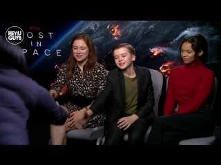 Maxwell jenkins,  mina sundwall  taylor russell - the new kids in lost in space - exclusive