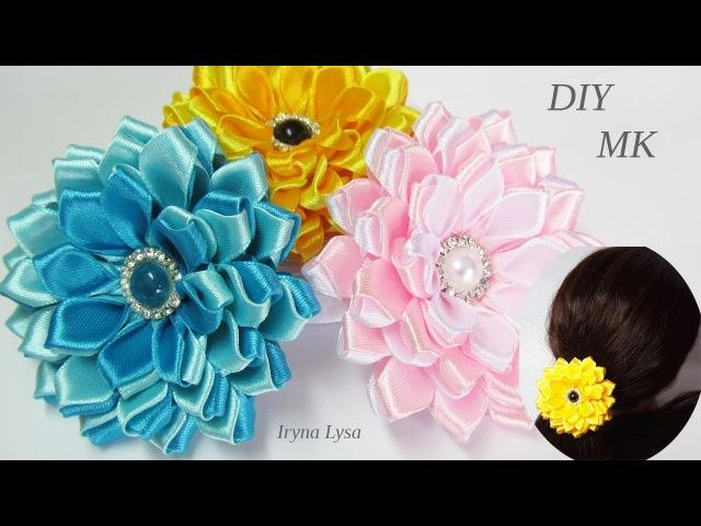 Цветок🌺 Из Узкой Ленты шириной 12мм МК, DIY Satin Ribbon Flower » Freewka.com - Смотреть онлайн в хорощем качестве