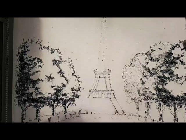 Продолжение истории с рисованием пером и тушью на стене. Drawing ink and pen -wall