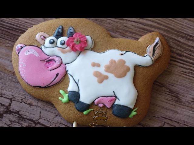Как сделать пряник корову из Веселая ферма / Пряничные топперы / Пряники животные