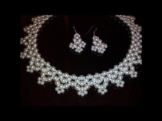 Комплект украшений из бисера и бусин. МК. Tutorial: earrings and necklace