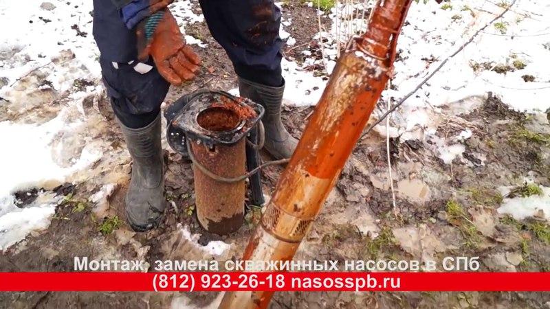 Насос PEDROLLO 4SR1M 13, замена в скважине в Петергофе на 30 метрах.