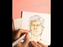 Йен Сомерхолдер маркерами / speed drawing