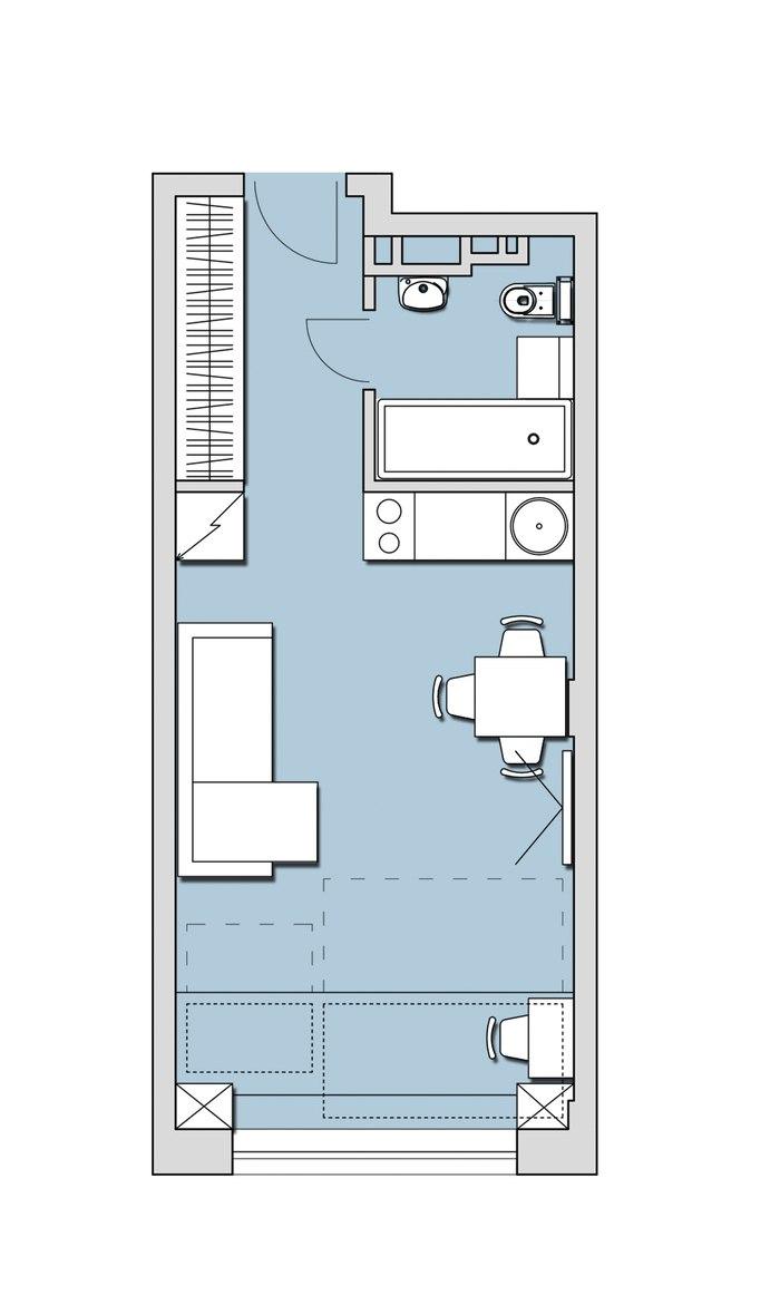 Варианты организации типовой прямоугольной студии 28 м.