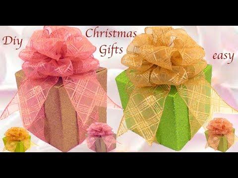 Como hacer regalos lindos fácil rápido en minutos para Navidad cajas y moños reciclando