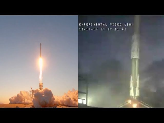 SpaceX Falcon 9 launches EchoStar 105SES-11 Falcon 9 first stage landing, 11 October 2017