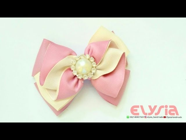 How To Make Ruffle Ribbon Bow With Grosgrain Ribbon DIY by Elysia Handmade