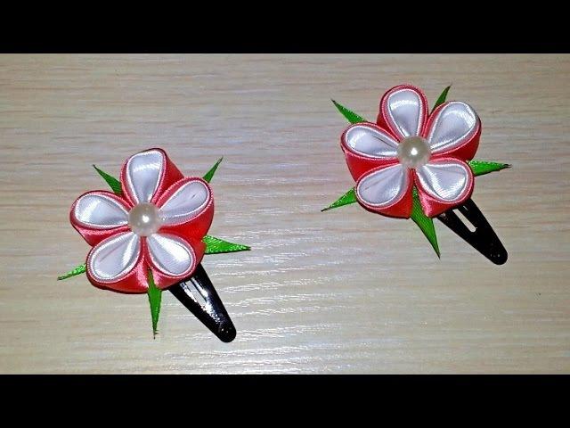 Заколки с цветами в технике канзаши