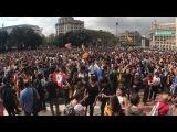 На площади Каталония проходит многотысячная акция протеста каталонских студен ...