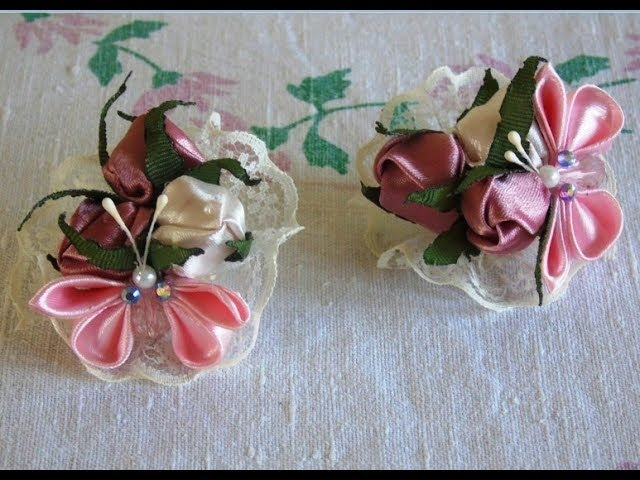 Бутоны роз и бабочка из лент\DIY a rosebud and a butterfly from ribbons