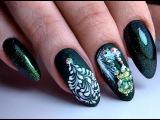 Очень простой и  красивый зимний дизайн ногтей елочка и снег. ТОП удивителные ди ...