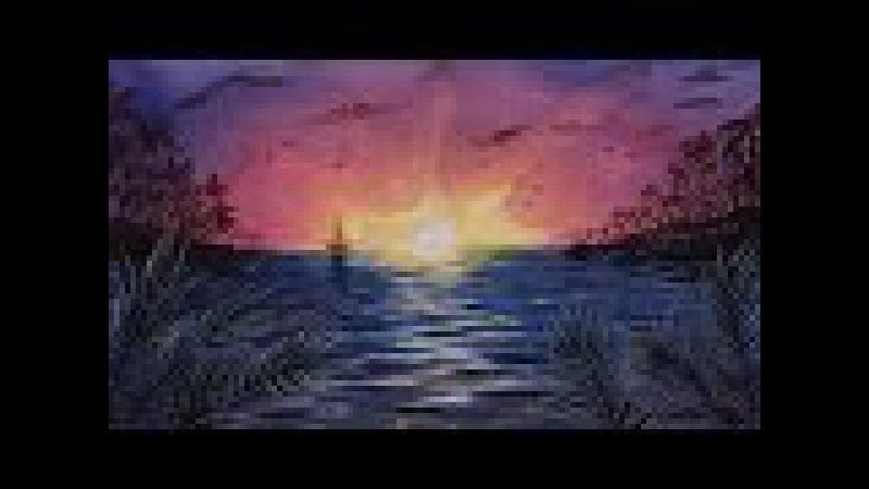 Speed Drawing Watercolor Sunset Landscape Time Lapse - Sea Landscape - Акварель Закат мастер-класс