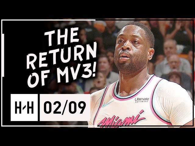 Dwyane Wade First Game Back with Heat Full Highlights vs Bucks 2018 02 09 CLUTCH Block