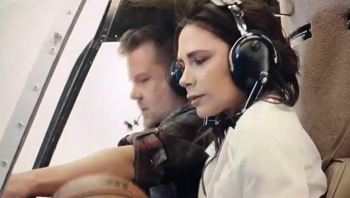"Victoria Beckham on Instagram: ""Behind the scenes shaqnado! Watch it in full at the link in my bio! So much fun thank you @j_corden @shaq @latelat..."
