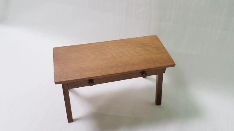 DIY Miniature Desk (doll house item) 미니어쳐 책상 만들기 ミニチュア