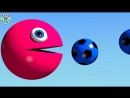 Learn Colors With 3D Soccer Ball And Pacman For Kids, Toddlers, Children, Babies