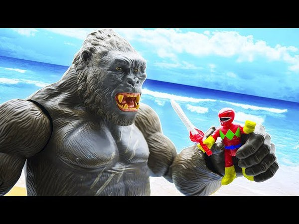 Toys Story Full Episodes: Giant KING KONG Attack Power Ranger Fun Toys Kids لعب الديناصورات 3