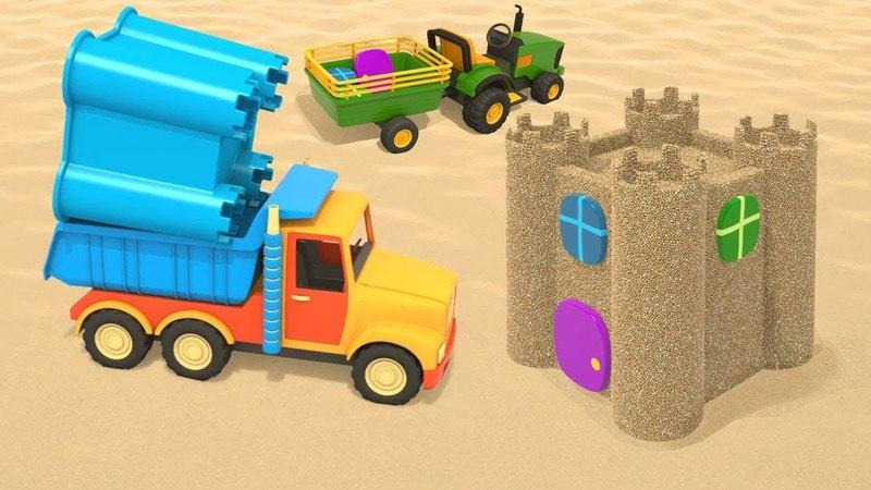 Cartoni animati per bambini - NUOVO! Camion sulla spiaggia: il castello di sabbia