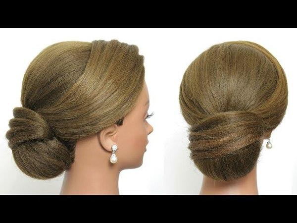 Easy Elegant Hair Bun. Prom Updo Hairstyle. Tutorial