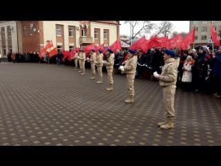 Юнармейцы СОШ № 3 выпускают голубей на митинге в честь освобождения г. Изобильного от немецко-фашистских захватчиков!