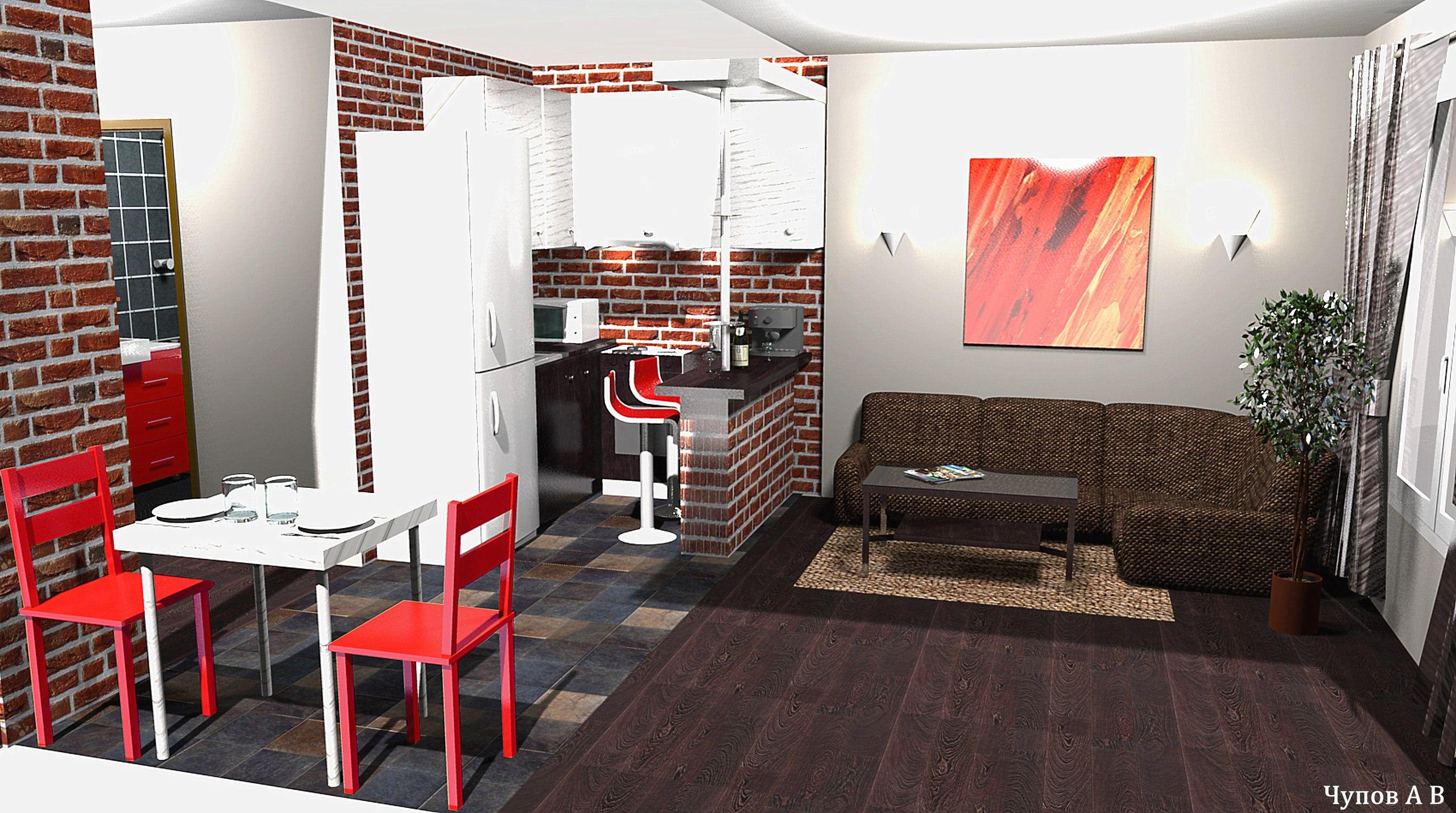 лофт , мужской дизайн , студия 25 кв/м