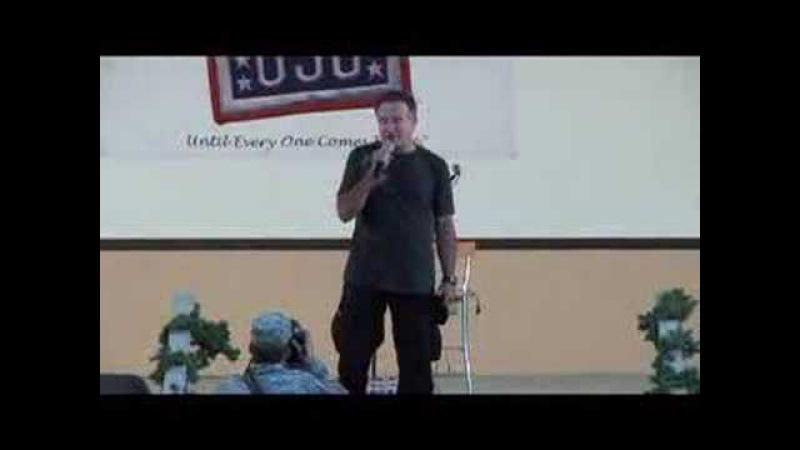Robin Williams as troops Retreat at Camp Arifjan Kuwait