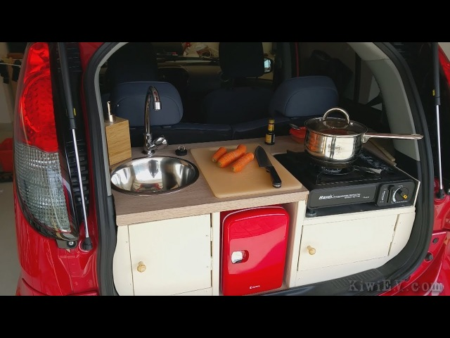 Installing a fully functional kitchen in an electric car