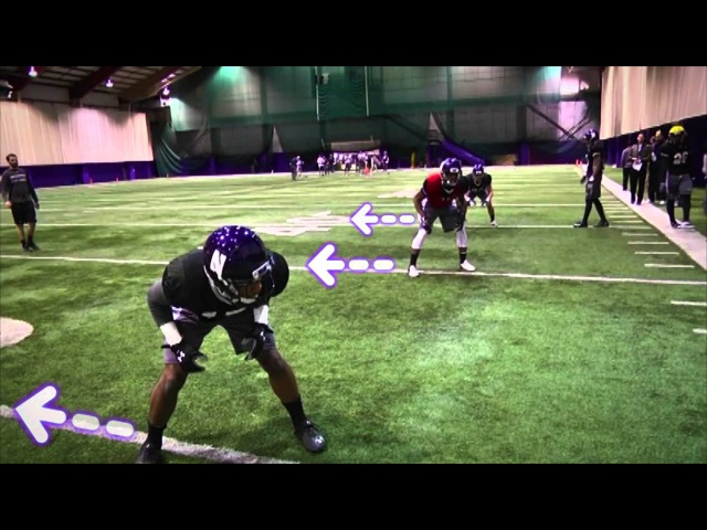 Northwestern Wildcats shuffle pedal angle break drill Defensive backs