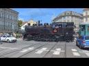 Setkání parní lokomotivy 433.001 s parní tramvají Caroline v Brně 24.6.2017
