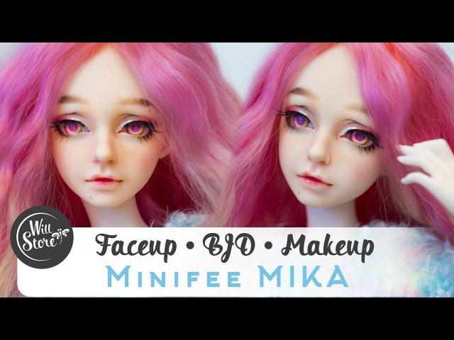 [BJD] Роспись куклы минифи Мика мейкап / фейсап [БЖД] BJD OOAK minifee Mika урок от WillStore
