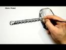 Как можно нарисовать 3D рисунок Молот Тора используя фломастеры и каранадаши