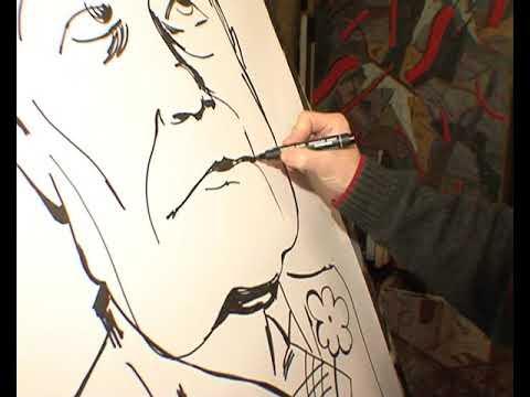 Сергей Пшизов рисует Евгения Петросяна. Рабочие съемки для передачи НТВшники. 2009 год.