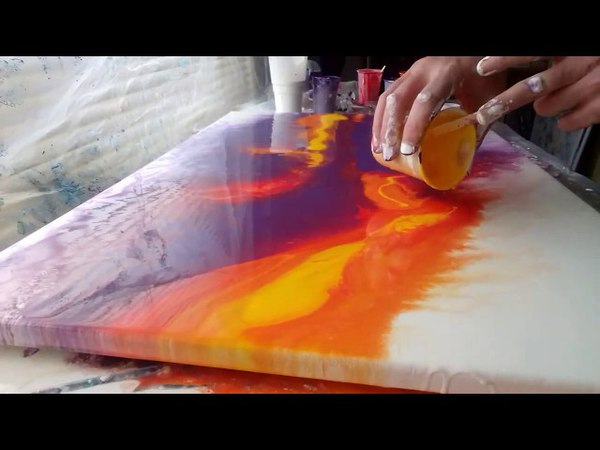 Acrylic Fluid Pouring Large Scale.Experimenting With The Technique...