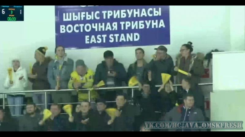 Олег ЛомакоСарыарка забивает 6 шайбу в матче с Химиком