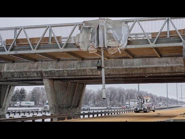 Truck crashes pedestrian bridge near Montreal in Canada