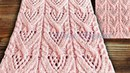 Ажурные ромбы с косичками Японский узор № 141 из японского каталога Хитоми Шидо 250 узоров спицами